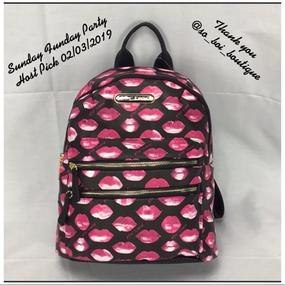 0de9908044 NWT Betsey Johnson Pink Lips Backpack